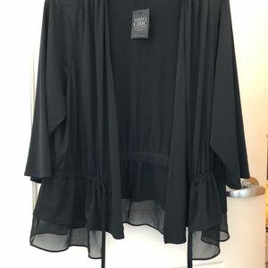 Evening jacket black elegant sheer bottom NWT